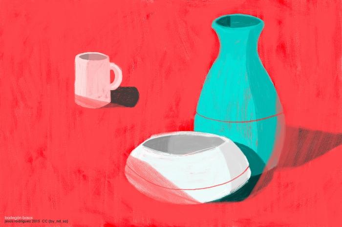 bodegón constituido por un taza blanca, un jarrón turquesa y un recipiente blanco sobre fondo rojo fuego